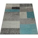 Paco Home Designer Wohnzimmer Teppich Modern Kurzflor Karo Design Türkis Grau Weiß