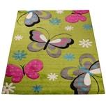 Paco Home Kinder Teppich Schmetterling Design Grün Creme Rot Pink