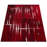 Paco Home Designer Teppich Modern Trendiger Kurzflor Teppich in Rot Creme Meliert