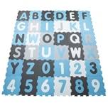 Paco Home Puzzlematte Spielmatte Schaumstoffmatte Baby Kinder Matte Junge Zahlen Buchstaben Pastell Blau 36 Puzzleteile