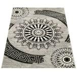 Paco Home Teppich Klassisch Gemustert Kreis Ornamente in Grau Schwarz Meliert