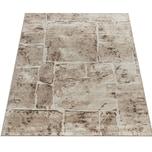 Paco Home Designer Teppich Modern Trendig Meliert Steinoptik Mauer Muster Wohnzimmer Braun