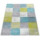 Paco Home Designer Teppich Wohnzimmer Ausgefallene Farbkombination Karo Türkis Grün Grau