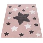 Paco Home Teppich Kinderzimmer Kinderteppich Große Und Kleine Sterne In Rosa Grau