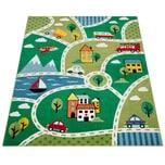 Paco Home Kinder-Teppich Mit Straßen-Design, Kurzflor Für Kinderzimmer, Landschaft in Grün