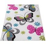 Paco Home Kinder Teppich Schmetterling Design Pink Grün Blau Grau Creme