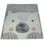 Paco Home Kinderzimmer Spiel Kinder Teppich Grau Weiß Bär Motiv 3-D Design Kurzflor Weich