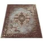 Paco Home Orient Kurzflor Teppich Wohnzimmer Used-Look Orientalisches Design In Braun
