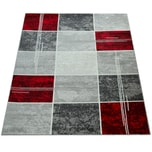 Paco Home Designer Teppich Kariert Kurzflor Marmor Optik Meliert Modern Grau Schwarz Rot