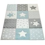 Paco Home Kinder Teppich Blau Grau Pastellfarben Karo Muster Sterne Punkte 3-D Design