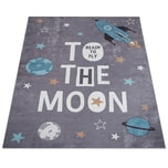 Paco Home Kinderteppich, Spielteppich Für Kinderzimmer, Mit Raketen-Motiv Und Spruch, Grau