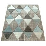 Paco Home Designer Teppich Konturenschnitt Pastellfarben Rauten Beige Blau