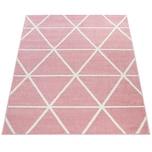 Paco Home Teppich Rosa Pink Weiß Wohnzimmer Pastellfarben Rauten Design Robust Kurzflor
