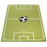 Paco Home Teppich Kinderzimmer Fußball Spielteppich Kinderteppich Fußballplatz Grün