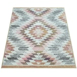 Paco Home Wohnzimmer-Teppich, Moderner Kurzflor In Pastellfarben Mit Rauten-Muster, In Bunt