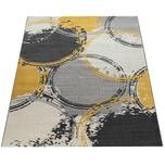 Paco Home Teppich Wohnzimmer Muster Modern Kurzflor Abstrakt Kreise In Gelb Grau Weiß