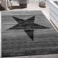 Paco Home Designer Teppich Stern Muster Modern Trendig Kurzflor Meliert In Grau Schwarz