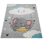 Paco Home Kinderteppich, Teppich Kinderzimmer Niedliches Baby-Elefant Motiv, Grau