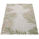 Paco Home In- & Outdoorteppich Beige Grün Balkon Terrasse Palmen Blätter Muster Robust