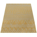Paco Home In- & Outdoor Flachgewebe Teppich Modern Ethno Muster Zickzack Design In Gelb