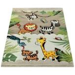 Paco Home Kinderteppich Kinderzimmer Dschungel Tiere Giraffe Löwe Affe Zebra Beige Creme