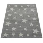 Paco Home Moderner Kurzflor Kinderteppich Sternendesign Kinderzimmer Star Muster Grau Weiß