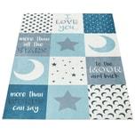 Paco Home Kinderteppich Kinderzimmer Jungen Waschbar Herzen Sterne Mond Spruch Blau Grau