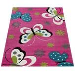 Paco Home Kinder Teppich Schmetterling Design Grün Grau Schwarz Creme Pink