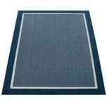 Paco Home Outdoor Indoor Teppich Blau Balkon 3D Optik Bordüre Natürlicher Look Kurzflor