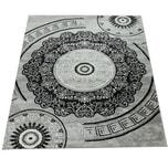 Paco Home Designer Wohnzimmer Teppich Orientalisch Mandala Motive Grau Weiß