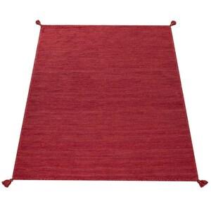 Paco Home Designer Teppich Webteppich Kelim Handgewebt 100% Baumwolle Modern Meliert Rot