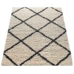 Paco Home Hochflor-Teppich, Shaggy Für Wohnzimmer, Skandi-Stil U. Rauten-Design In Beige