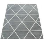 Paco Home Kurzflor Teppich Grau Weiß Wohnzimmer Rauten Muster Skandi Design Weich Robust