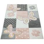 Paco Home Kinder Teppich Kinderzimmer Bunt Rosa Schmetterlinge Karo Muster Punkte Blumen