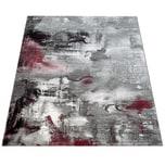 Paco Home Teppich Modern Designer Teppich Leinwand Optik Meliert Schattiert Grau Rot Creme