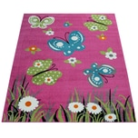 Paco Home Kinderteppich Kinderzimmer Spielteppich Kurzflor Schmetterlinge Blumen In Pink