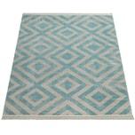 Paco Home Outdoor Teppich Blau Weiß Balkon Terrasse Rauten Muster Skandinavisches Design