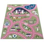 Paco Home Kinder-Teppich, Spiel-Teppich Für Kinderzimmer, Straßen-Motiv Mit Schloss, In Grün Rosa