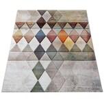 Paco Home Designer Teppich Bunte Raute Muster Konturenschnitt In Beige Braun Creme Meliert