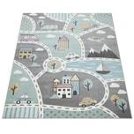 Paco Home Kinder-Teppich Mit Straßen-Motiv, Spiel-Teppich Für Kinderzimmer, In Grün Grau