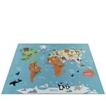 Paco Home Kinder-Teppich Für Kinderzimmer, Spiel-Teppich, Weltkarte Mit Tieren, In Grün