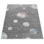 Paco Home Kinder-Teppich, Spiel-Teppich Für Kinderzimmer Mit Planeten Und Sternen, In Grau