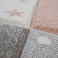 Paco Home Kinderzimmer Teppich Rosa Grau Pastellfarben Karo Muster Sterne Punkte Design