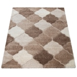 Paco Home Hochflor-Teppich, Shaggy Für Wohnzimmer Mit Orient-Design, In Beige