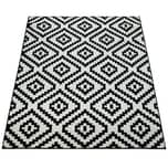 Paco Home Kurzflor Teppich Schwarz Weiß Wohnzimmer Ethno-Look Design Rauten Muster