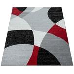 Paco Home Designer Teppich Kurzflor Teppich Modern Abstrakte Halbkreise Muster In Rot Grau