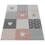 Paco Home Kinderteppich Pastellfarben Kariert Punkte Herzen Sterne Weiß Grau Rosa