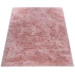 Paco Home Hochflor-Teppich, Shaggy Für Wohnzimmer, Mit Glitzer-Garn, Einfarbig In Rosa