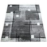 Paco Home Designer Teppich Konturenschnitt Abstrakt Karo Linien Grau Schwarz Meliert