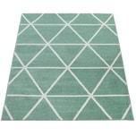 Paco Home Teppich Wohnzimmer Grün Weiß Skandi Design Rauten Muster Pastell Weich Kurzflor